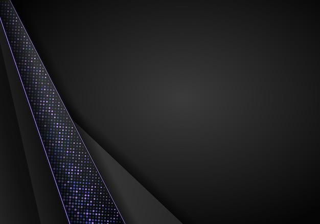 Ciemne tło z czarnymi nakładającymi się warstwami... błyszczy półtonów. szablon projektu nowoczesny wektor.