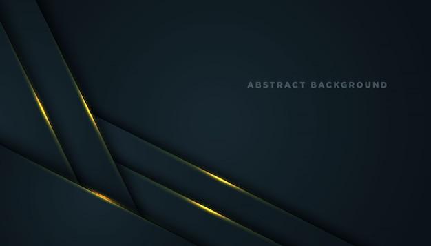 Ciemne tło z czarnymi nakładającymi się warstwami. tekstura z dekoracją elementu złotego efektu.