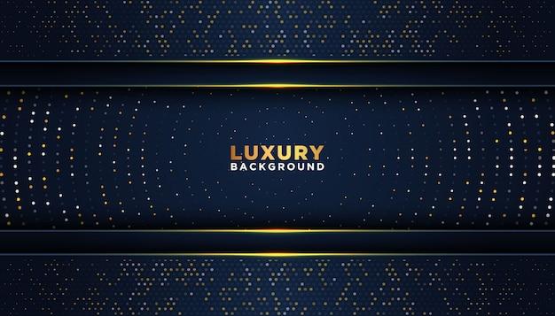 Ciemne tło z nakładającymi się warstwami. luksusowa koncepcja projektowania. złote błyszczące kropki element dekoracji. luksusowa koncepcja projektowania.