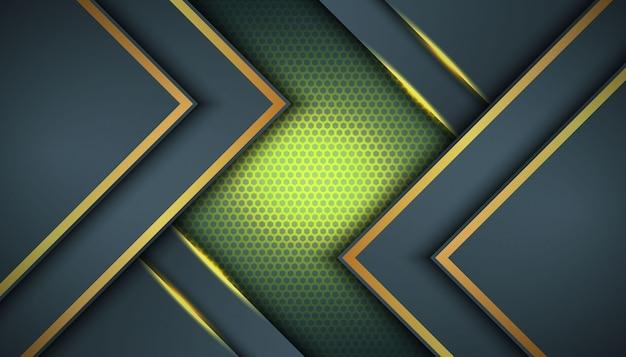 Ciemne tło z nakładającymi się warstwami. tekstura z dekoracją elementu złotego efektu. luksusowa koncepcja projektowania.