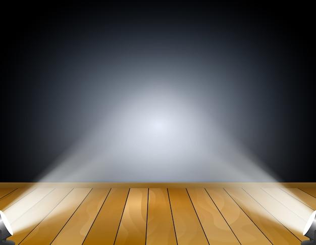 Ciemne tło z reflektorami lub lampami projekcyjnymi. studio z drewnianą podłogą