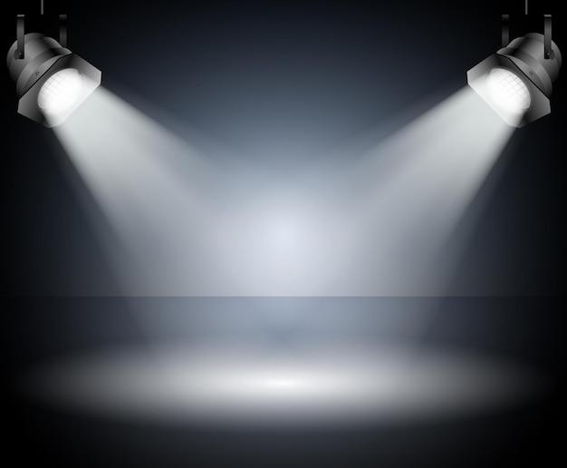 Ciemne tło z reflektorami