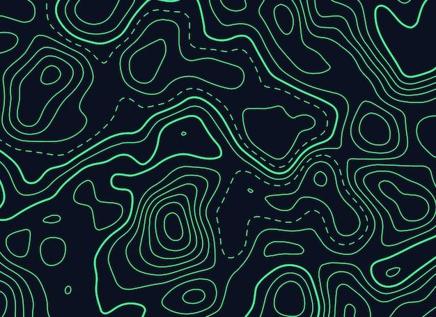 Ciemne tło z zieloną topograficzną mapą konturową