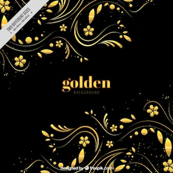 Ciemne tło ze złotym kwiatowej dekoracji