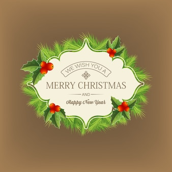 Ciemne z życzeniami wesołych świąt napisanymi w środku płaskiej ilustracji wieniec iglasty