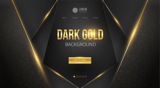Ciemne złoto luksusowe tło. szablon witryny sieci web