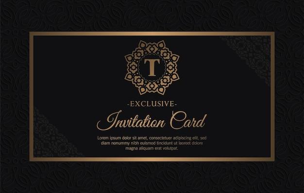 Ciemnoczarne zaproszenie na ślub z wzorem