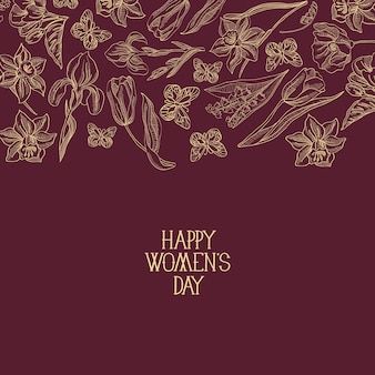 Ciemnoczerwona kartka okolicznościowa z wieloma obiektami wokół tekstu o dniu kobiet ozdobiona ilustracją wektorową kwiatów