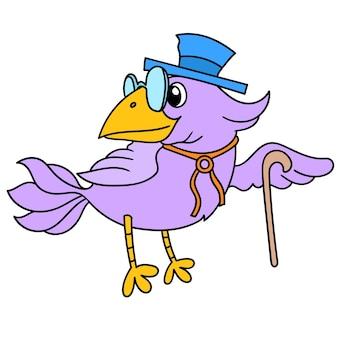 Ciemnofioletowy ptak w kapeluszu z kijem, doodle rysuje kawaii. sztuka ilustracji wektorowych