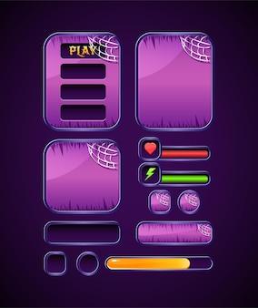 Ciemnofioletowy szablon zestawu halloweenowego do gry ui z paskiem, przyciskiem i wyskakującym interfejsem tablicy