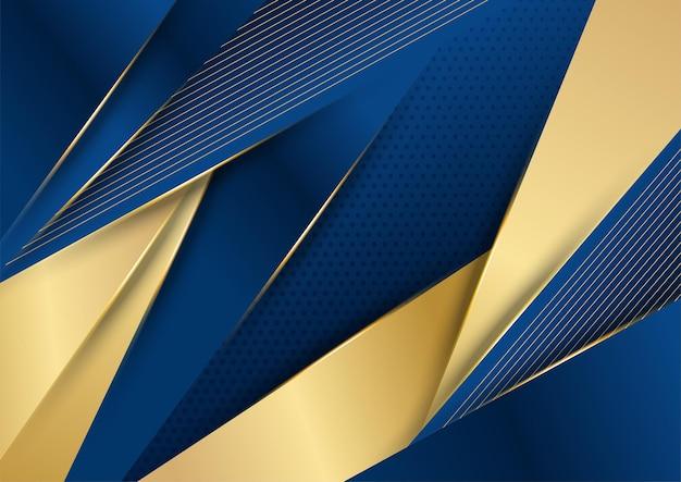 Ciemnogranatowe i złote kształty krzywej na tle ze świecącymi złotymi liniami w paski i brokatem. luksus i elegancja. streszczenie szablonu projektu. projekt prezentacji, banera, okładki. modny wektor