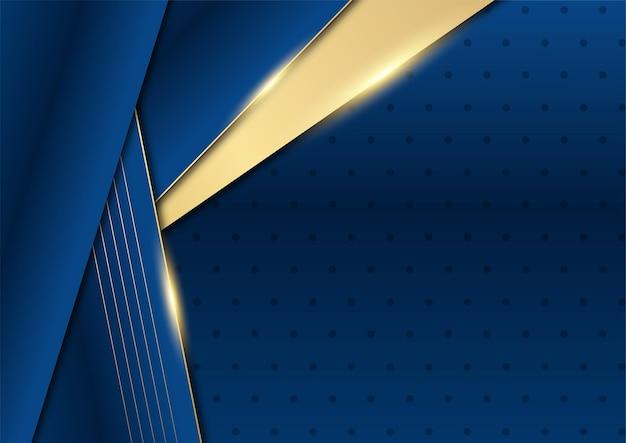 Ciemnogranatowe i złote kształty krzywej na tle ze świecącymi złotymi liniami w paski i brokatem. luksus i elegancja. streszczenie szablonu projektu. projekt prezentacji, banera, okładki.