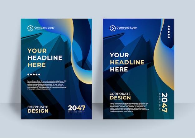 Ciemnoniebieska fala tożsamości korporacyjnej okładka biznes wektor projekt, ulotka broszura reklama streszczenie tło