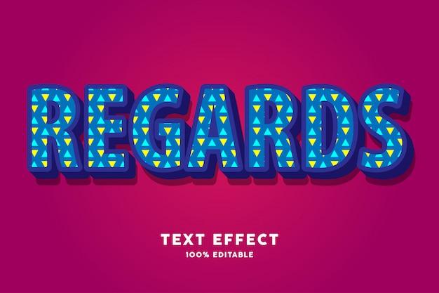 Ciemnoniebieski 3d z efektem tekstu we wzór trójkąta
