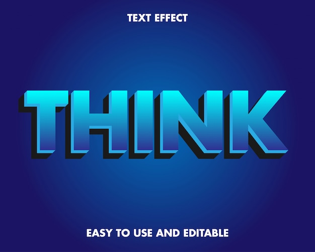 Ciemnoniebieski efekt tekstowy z nowoczesnym designem 3d.