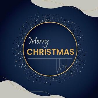 Ciemnoniebieski i złoty świąteczny plakat