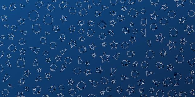 Ciemnoniebieski prezent świąteczny baner tła z gwiazdą prezent bałwan i ikona drzewa piękny ch...