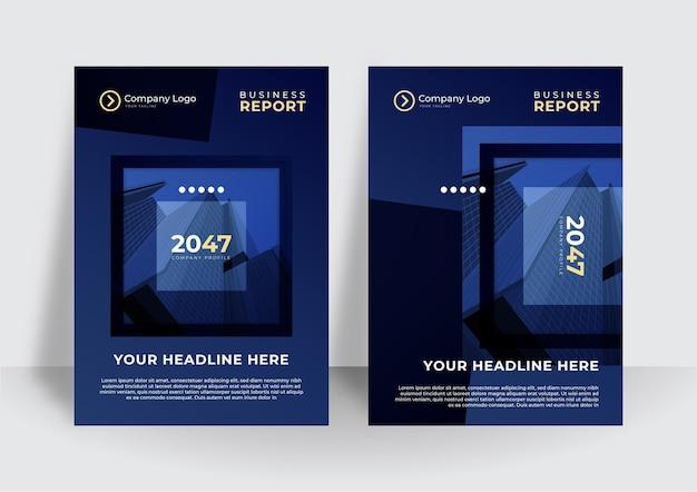 Ciemnoniebieski projekt broszury biznesowej okładki. nowoczesny szablon układu magazynu plakatowego, raport roczny do prezentacji