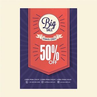 Ciemnoniebieski sprzedaż broszura z czerwoną etykietą