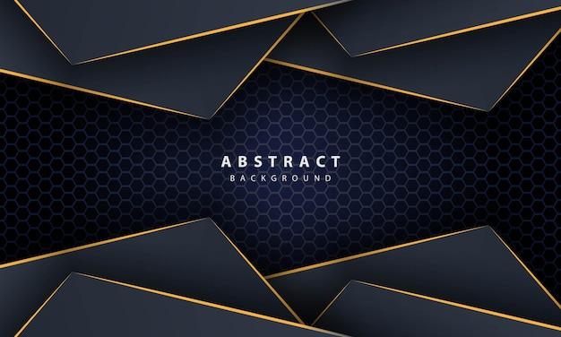 Ciemnoniebieski sześciokąt streszczenie tło z kształtami gradientu złota linia. szablon projektu banera, plakatów, okładki itp.