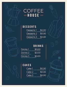 Ciemnoniebieskie pionowe cyfrowe menu restauracji