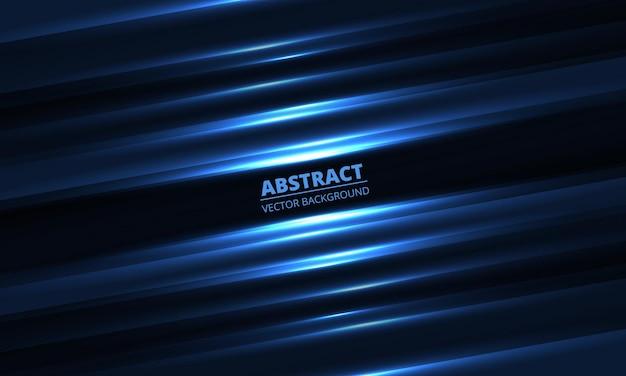 Ciemnoniebieskie tło geometryczne ze świecącymi jasnymi ukośnymi liniami i cieniami