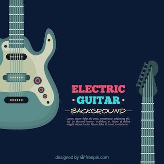 Ciemnoniebieskie tło z gitara elektryczna