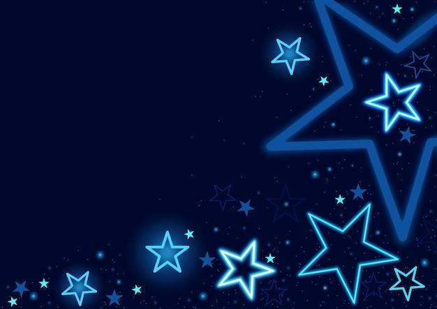 Ciemnoniebieskie tło z różnymi gwiazdami i kropkowanym gwiezdnym pyłem