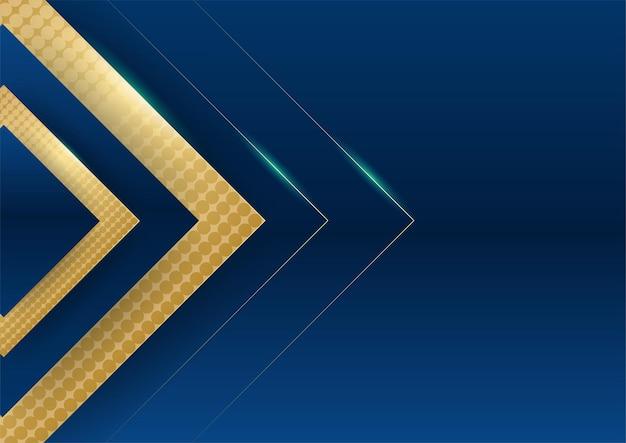 Ciemnoniebieskie tło ze złotymi błyszczącymi elementami linii na tle prezentacji. abstrakcyjny szablon ciemnoniebieskie luksusowe tło premium z luksusowym geometrycznym wzorem i złotymi liniami oświetleniowymi