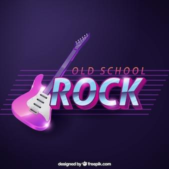 Ciemnoniebieskim tle z błyszczącą gitara elektryczna