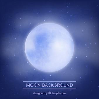 Ciemnoniebieskim tle z błyszczącą księżyca