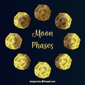 Ciemnoniebieskim tle z fazami księżyca