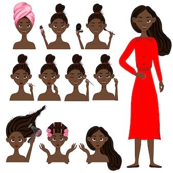 Ciemnoskóra dziewczyna przed i po zabiegach kosmetycznych. styl kreskówkowy. ilustracji wektorowych.