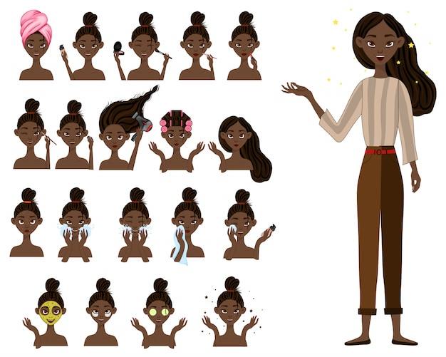 Ciemnoskóra dziewczyna przed i po zabiegach kosmetycznych. styl kreskówkowy.