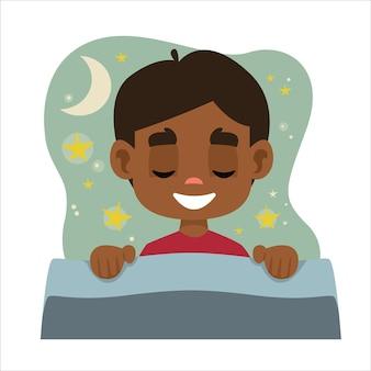 Ciemnoskóry chłopiec śpi w swoim łóżku i ma sen chmura z gwiazdami i księżycem