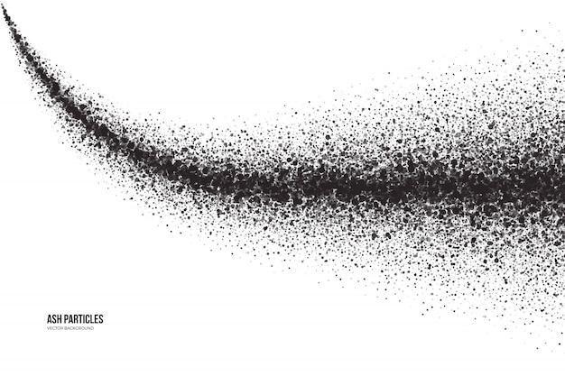 Ciemnoszare cząstki popiołu na białym tle