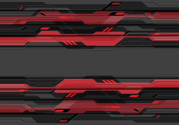 Ciemnoszary metaliczny obwód cyber z czerwonym świetle zasilania technologii tła