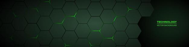 Ciemnozielony sześciokątny abstrakcyjny szeroki baner technologii