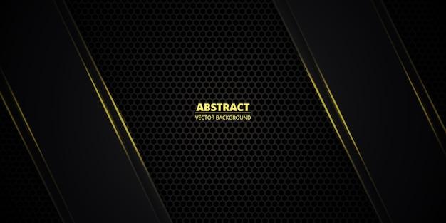 Ciemnożółta sześciokątna teksturowana siatka ze świetlistymi liniami i refleksami. technologia, sport, futurystyczny, nowoczesny, luksusowy abstrakcyjne tło.