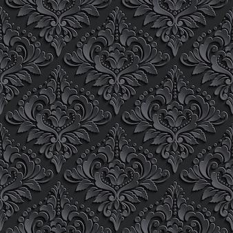 Ciemny adamaszek bezszwowe tło wzór. elegancka luksusowa tekstura tapet
