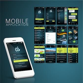 Ciemny aplikacja mobilna z zielonymi szczegółów