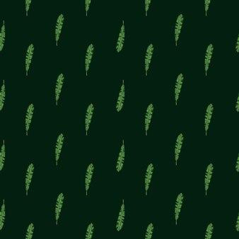 Ciemny bezszwowe streszczenie natura wzór z elementami botaniki zwrotnik liści. czarne tło. zielona ozdoba. płaski nadruk wektorowy na tekstylia, tkaniny, opakowania na prezenty, tapety. niekończąca się ilustracja.