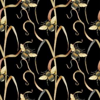 Ciemny bezszwowy łąkowy pszczoła wzór