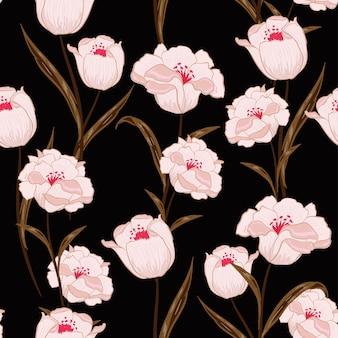 Ciemny botaniczny kwitnący bez szwu wektor