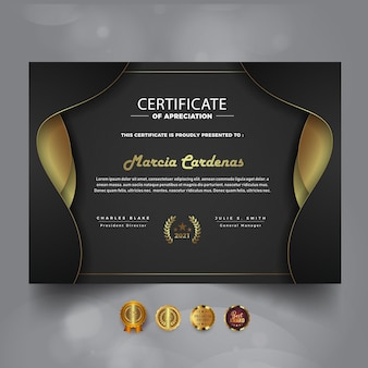 Ciemny certyfikat osiągnięcia nowy szablon