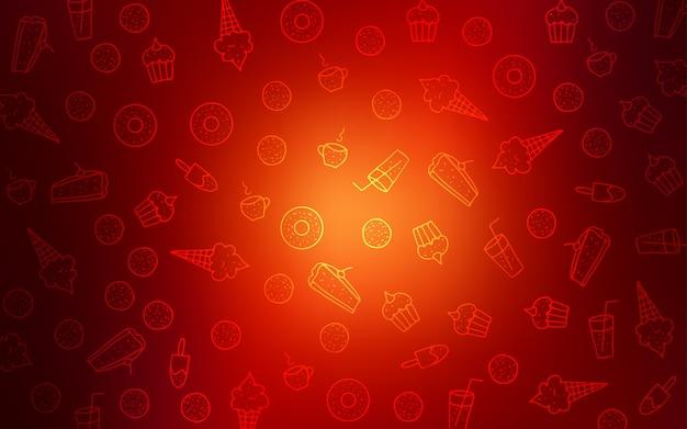 Ciemny czerwony tło z smaczne słodycze