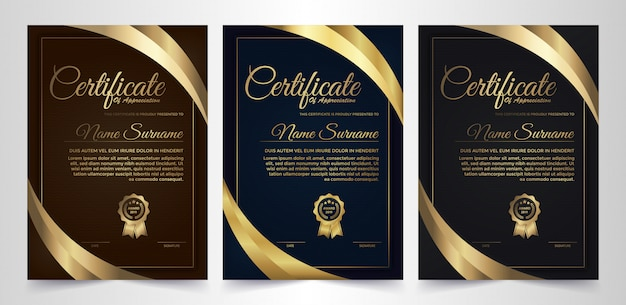 Ciemny dyplom dyplom kreatywny projekt z symbolem nagrody