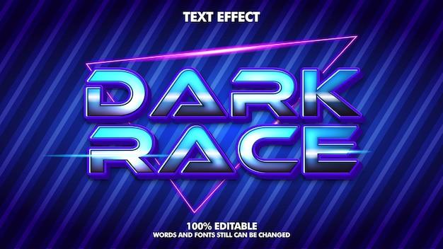 Ciemny efekt tekstowy wyścigu szablon typografii gier wideo