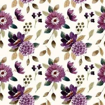 Ciemny fioletowy kwiat akwarela bezszwowe wzór