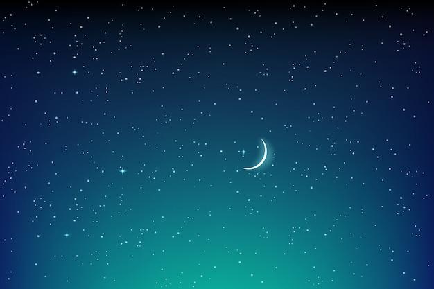 Ciemny gwiaździstej nocy krajobraz z gwiazdami i wektorem księżyca